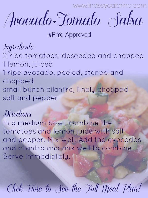 Check out this yummy recipe for my Avocado+Tomato Salsa from my PiYo International mealplan! Head on over to this site to see the full mealplan Read more here: http://lindseycatarino.com/piyo-meal-plan-international-style/