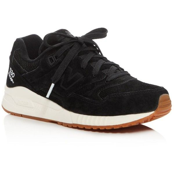 New Balance 530 Lace Up Sneakers (405 ILS) ❤ liked on Polyvore featuring shoes, sneakers, black, new balance trainers, lacing sneakers, lace up shoes, new balance footwear and black laced shoes