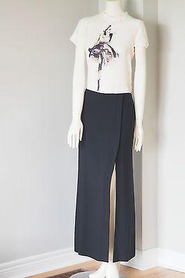Linda-Allard-Ellen-Tracy-Black-Long-Maxi-Skirt-Wrap-button-Front-Slit-Skirt-10
