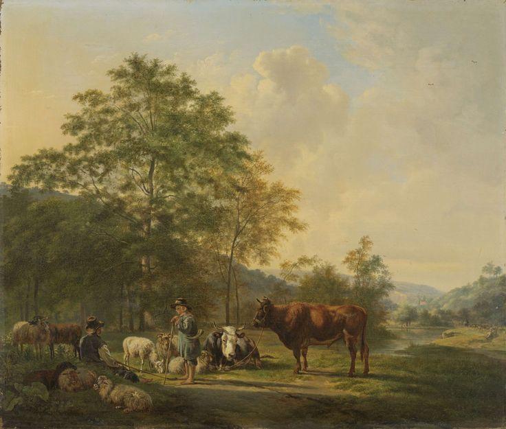 Pieter Gerardus van Os | Hilly Landscape with Shepherd, Drover and Cattle, Pieter Gerardus van Os, 1815 - 1839 | Heuvelachtig landschap met herder, bulleman en vee. Een man met een stier aan een touw maakt een praatje met een zittende herder met schapen en een koe. Op de achtergrond een herder met kudde bij een riviertje.