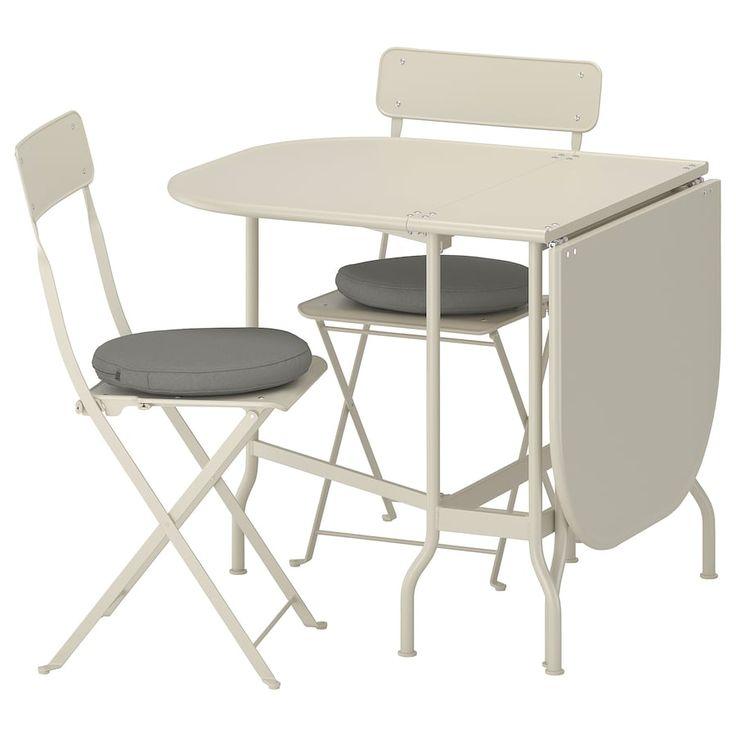 SALTHOLMEN Tavolo + 2 sedie pieghevoli esterno beige