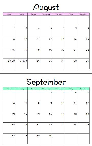 August 2015 July 2016 Monthly Homeschool Calendar Printable FREE