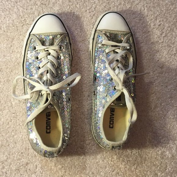 Sequined Converse Awesome converse shoes. A few sequins missing but in great shape. Only worn around 3 or 4 times! Converse Shoes Sneakers