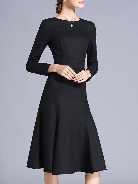 6188b13e26c Shop Midi Dresses - Elegant Wool Blend Long Sleeve Solid A-line Midi Dress  online. Discover unique designers fashion at StyleWe.com.