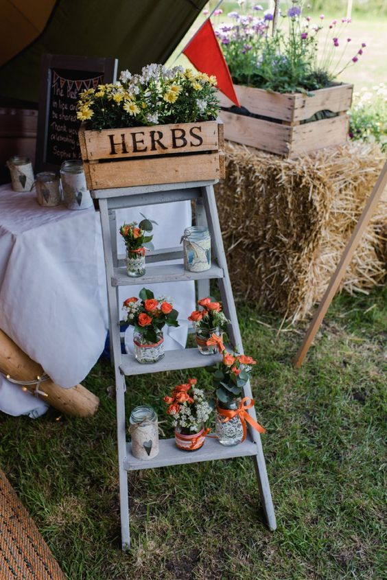 Crate Ladder Flowers Jars Festival Tipi Bluebell Woods Wedding / http://www.deerpearlflowers.com/country-wooden-crates-wedding-ideas/