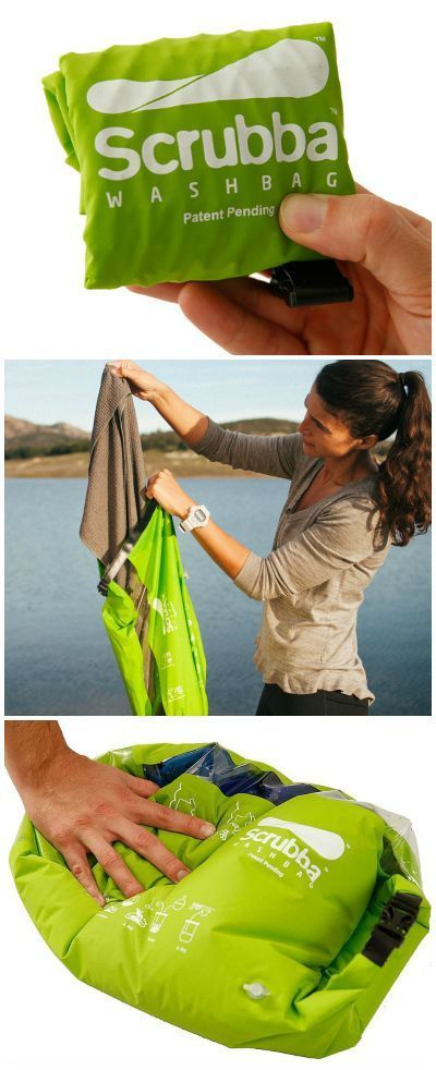 The Scrubba Wash Bag is the world's lightest and most compact washing machine that fits in your pocket and requires no electricity.: