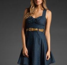 Denim bridesmaid dress, could be worn with cowboy boots or glammed up with a lace sash