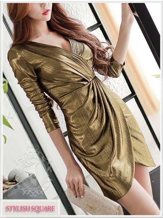 V-Collar Long-Sleeved Golden Dress