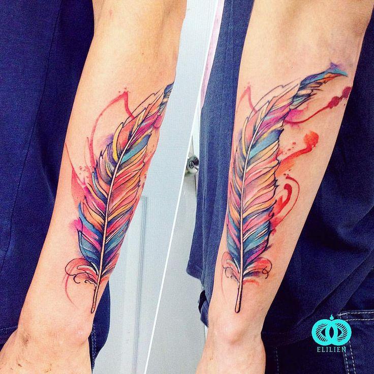 https://flic.kr/p/Ka1kJc | Pluma 45. #feather #elilien #watercolor #watercolortattoo #aquarelle #水彩 #акварель #color #tattoo #tatuaje #тату…