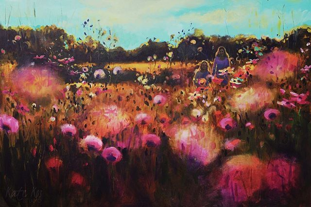 This #painting is called 'Glory Days' not only because I'm a #Springsteen fan, but because I was thinking of those #beautiful days of innocence when my #daughter was younger and we spend hours #walking and enjoying the #summer. It sort of connects 2 of my recent series that I will be showing at #ArtSource this weekend, 'Growing Free' and 'Summer Memories' #artsource2017 #affordableart #summer #theboss #childhoodmemories #childhood #painting #art  #windsorandnewton #creativityfound…