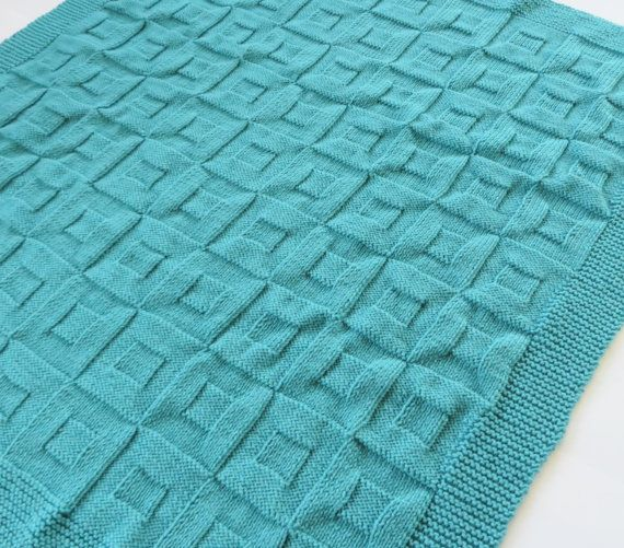 Hand Knit Baby Blanket Square within a Square by MockingbirdKnits