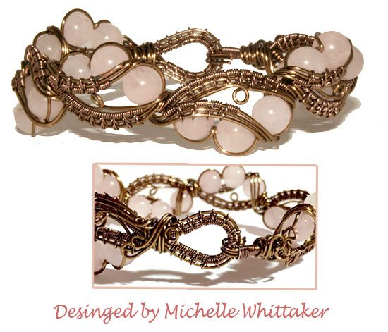 Wire Weave Bracelet as part of the set with Rose Quartz Focals