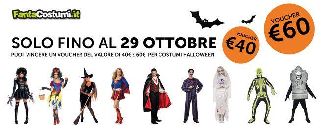 Solo fino al 29/10 puoi vincere un voucher del valore di 40€ e 60€ per costumi Halloween su FantaCosutmi.it http://codicedisconto.com/pagine/concorso #concorso #competition #voucher #halloween #costumi halloween