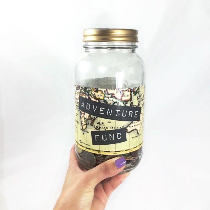 Glass piggy bank to start saving for Travel, Custom glass money jar makes a great travel holiday gift, handmade travel vacation jar. by MonikaKVeith on Etsy https://www.etsy.com/listing/214305133/glass-piggy-bank-to-start-saving-for