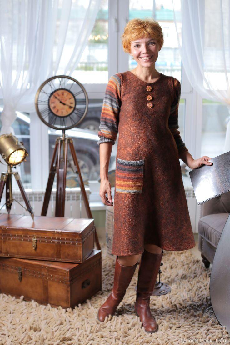 """Купить валяное платье """"Inspiration brown"""" в интернет магазине на Ярмарке Мастеров"""