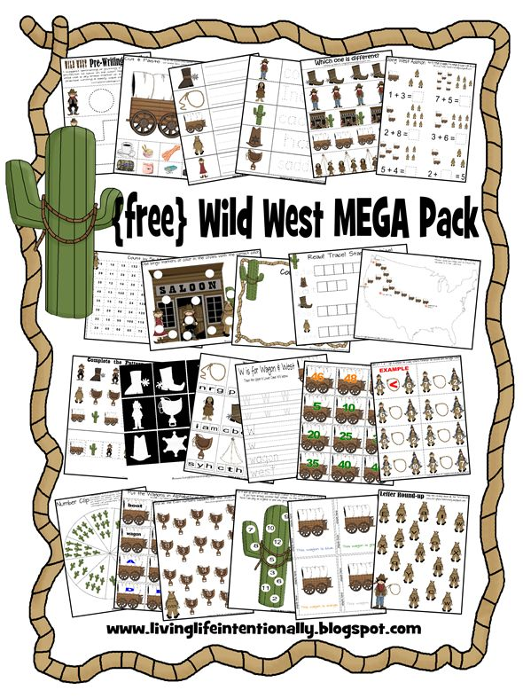 Free Wild West Printable Pack {You can round up this free Wild West printable pack at Living Life Intentionally.  These free printables include 70 pages of activities for children ages 2-8.}