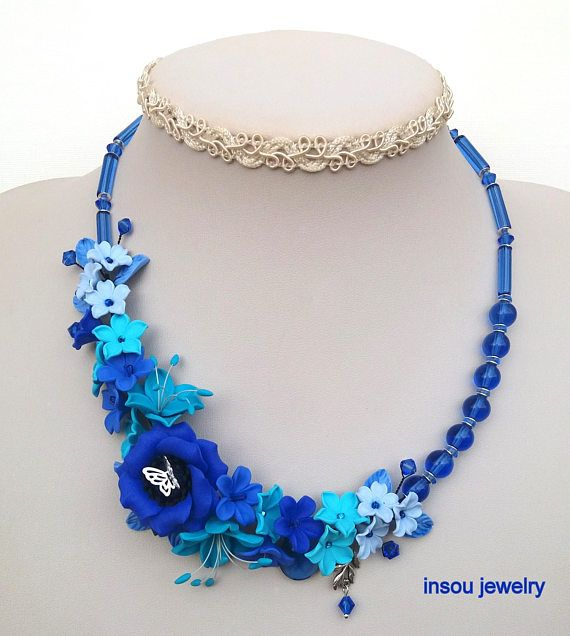 Wedding Necklace, Blue Necklace, Flower Necklace, Statement Necklace, Flower Jewelry, Anemone, Gift For Her, Blue Turquoise Jewelry