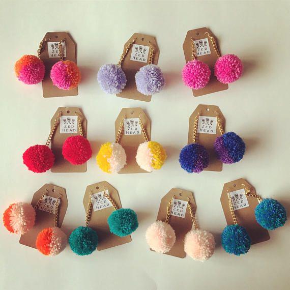 Pom Pom Yarn Colourful Chain Dangle Earrings Jewellery