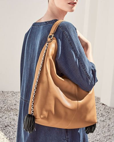 REBECCA MINKOFF Chase Large Leather Hobo Bag. #rebeccaminkoff #bags #shoulder bags #hand bags #leather #hobo #
