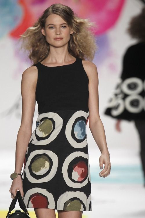 Designer @Desigual_USA brings '60s flare to #nyfw #mbfw #AW15 with a reinvented polka dot on a shift dress
