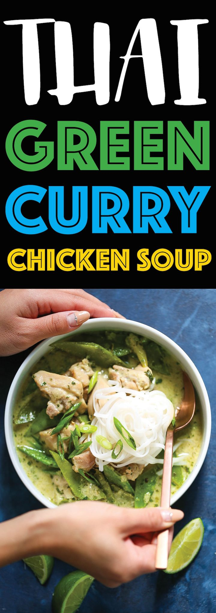 Thai Green Curry Chicken Soup - Everyone's favorite Thai green curry can be made right at home into the coziest, most comforting chicken soup ever! It is so easy to make with easy-to-find ingredients, loaded with tender chicken bites, ginger, coconut milk, snow peas, lime juice, cilantro and rice noodles!