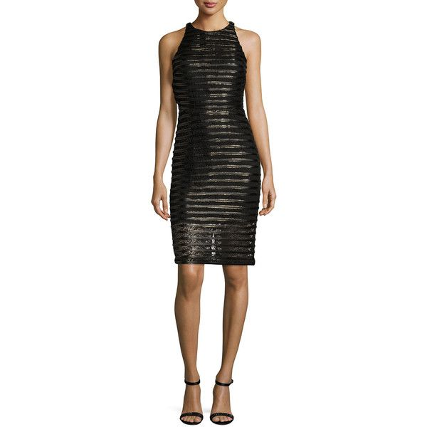 Parker Braelyn Metallic-Stripe Cocktail Dress ($178) ❤ liked on Polyvore featuring dresses, black, striped dress, sleeveless cocktail dress, sleeveless dress, open back sheath dress and sheath dress
