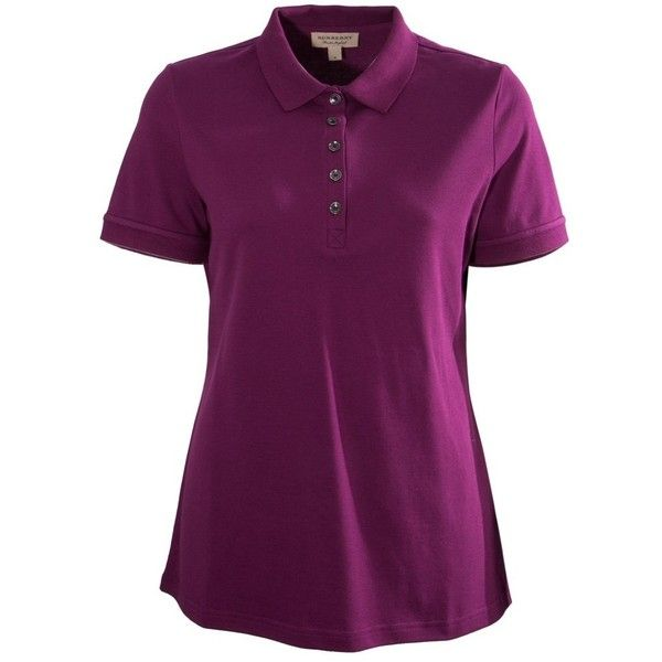 Burberry Check Trim Stretch Cotton Piqu Polo Shirt ($140) ❤ liked on Polyvore featuring tops, pink, burberry top, burberry, purple top, pink top and purple polo shirts