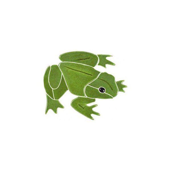 Bull Frog Mosaic Glazed Ceramic Tile Plant Leaves