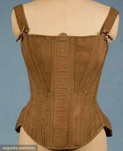 Augusta Auctions, November 2009 Museum Fashion & Textile Sale,  Hand Made Khaki Coutil Corset, C. 1845