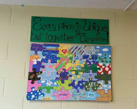 A great bonding activity to do with a sorority or a group of friends.. Etc Materials:  blank puzzle pieces, Acrylic paint, Poster board, Mod podge, Paint brushes