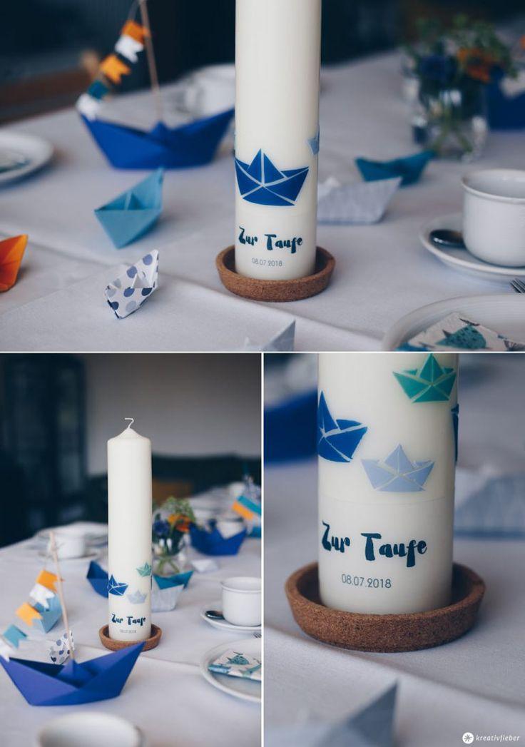 DIY Taufkerze selbermachen mit Origamibooten und Text – wolkenbrüche