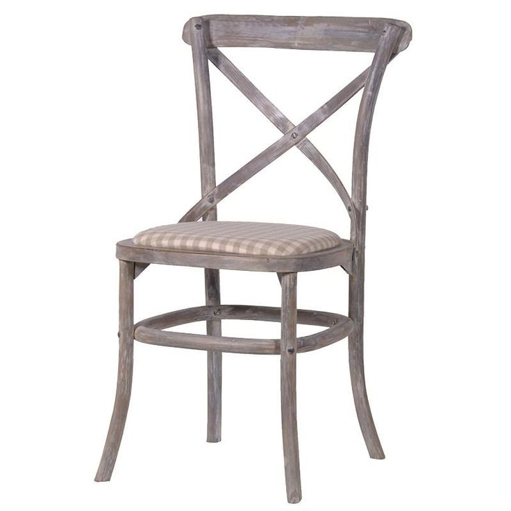 Cross Back Dining Chair With Check Seat Pad