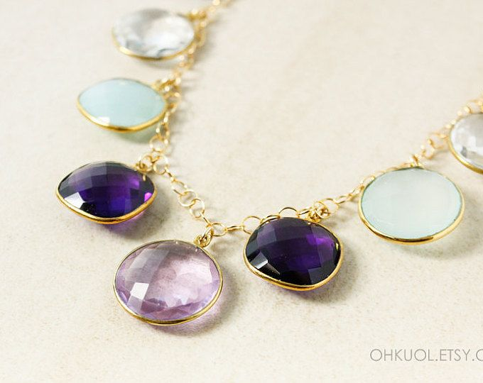 Gold Multi-Gemstone Bib Necklace - Pink Amethyst Quartz, Chalcedony, Opalite - 14Kt Gold Filled