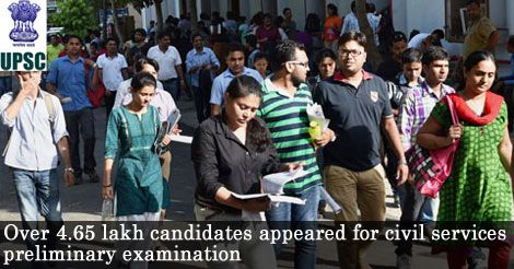 Over 4.65 lakh candidates appeared for civil services preliminary examination