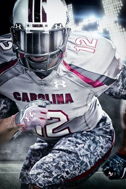 """South Carolina Football debuted their new custom gray """"Battle"""" uniforms by Under Armour at their game vs. LSU in Baton Rouge on October 13, 2012."""