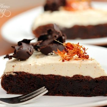 Flourless Chocolate Cake with Salted Caramel Mousse