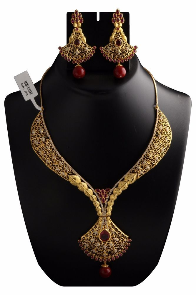 Indian Fashion Jewelry Bollywood Bridal American Diamond Necklace Earrings Set #vardhamangoodwill