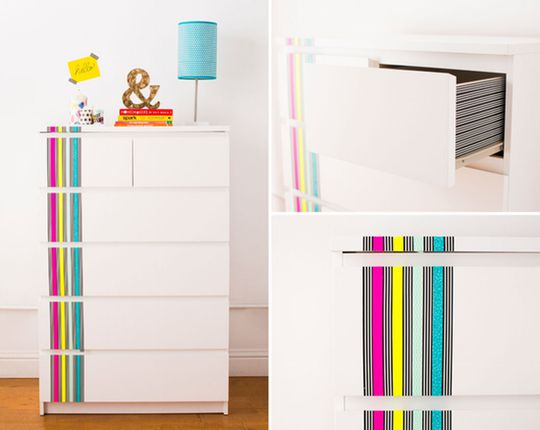 Want to add a little pizazz to your furniture without the trouble of painting? Washi tape is a fun (and inexpensive!) way to dress up boring furniture — and if you ever get tired of your new look, you can just peel it off and start again.
