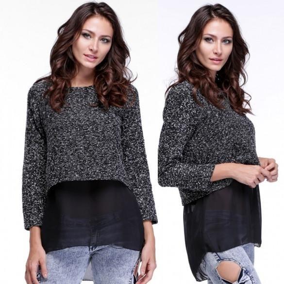 Stylish Women's Long Sleeve False Two Piece Spring Knitwear Top Blouse
