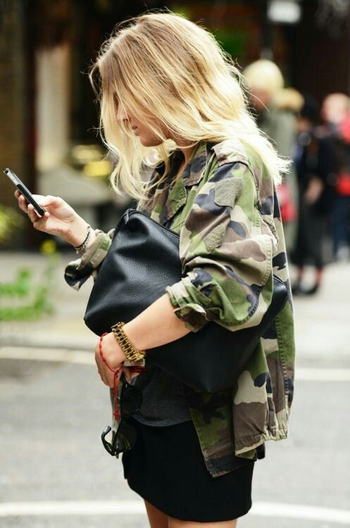 Camo jacket with a LBD - super cute