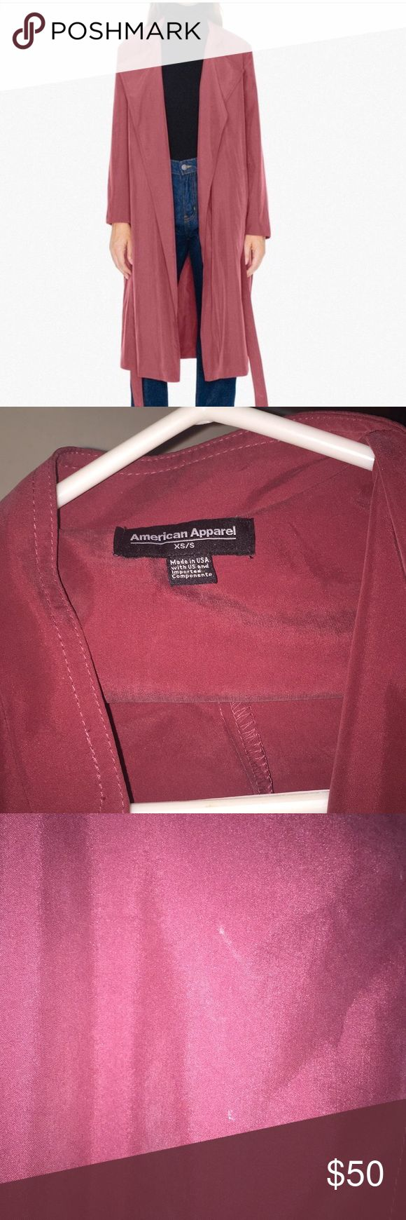 American Apparel Dylan Trench Coat This beautiful coat in the color Cabernet has only been worn 3x. Light weight and perfect for Spring. Only has a very light white streak on collar. NO TRADE. XS/S American Apparel Jackets & Coats Trench Coats