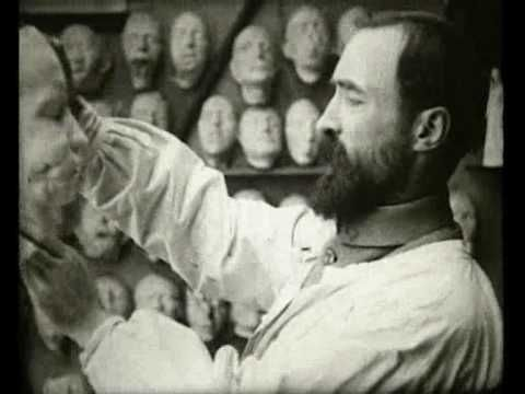 """A 1918 film, """"Men With Broken Faces"""". It shows Anna Coleman Ladd and Francis Derwent Wood working in their Paris studio with WWI soldiers. It shows the effects of war and can be a bit disturbing to watch."""