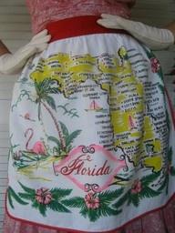 1950's vintage Florida apron - #SunshineStateofMindAprons Vintage, Vintage Souvenirs Florida, 1950S, Vintage Florida Souvenirs, Sunshine States, Vintage Aprons, Florida Aprons, Flamingos Girls, 1950 S Vintage