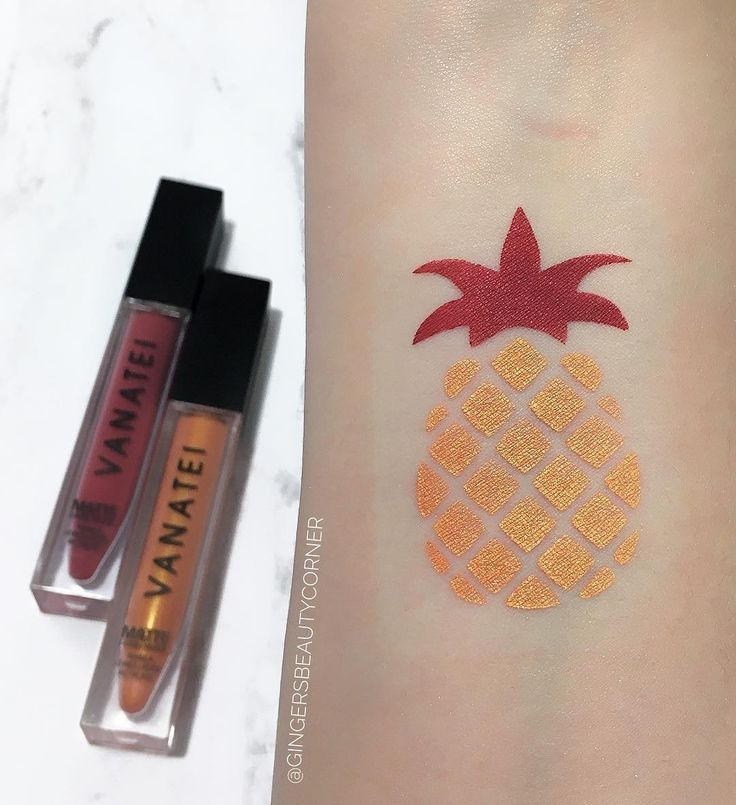 Vanatei Cosmetics Liquid lipstick. Wanted. Pineapple. Pineapple swatches. Swatch by @gingersbeautycorner of this beautiful liquid lipstick!