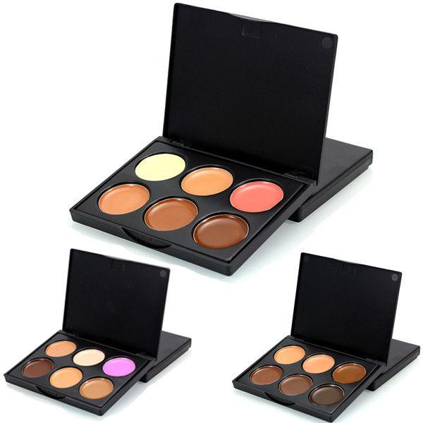 Cara de maquillaje cosmético de belleza de 6 colores corrector facial paleta sombra oscura