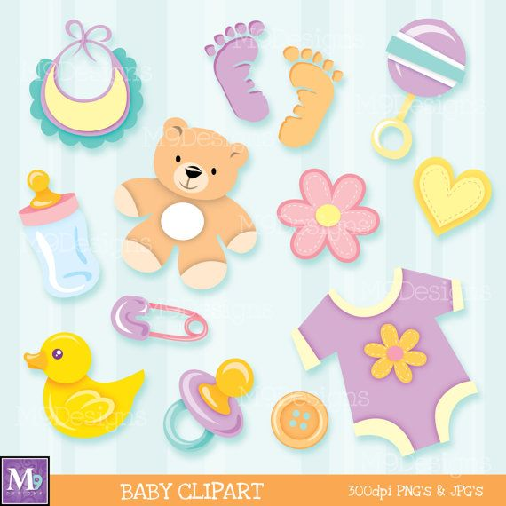 BABY Clipart Illustrations, INSTANT DOWNLOAD Fun Scrapbook Style Baby Clip Art Icons Boy or Girl Unisex