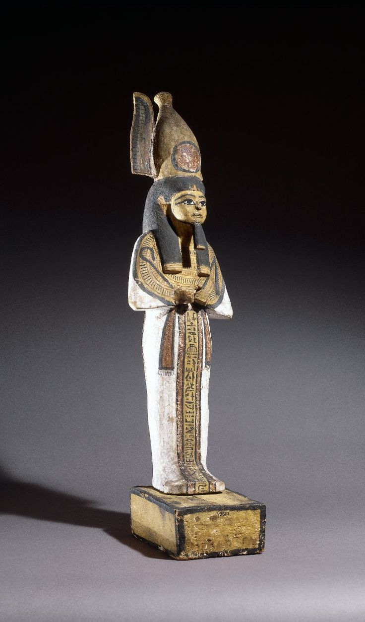 Figure-fitting, from a figure of Ptah-Sokar-Osiris, made for Hunefer, made of wood and painted black, red, yellow, white and green, on solid pedestal