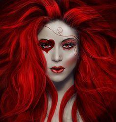 maquillage dame de coeur alice
