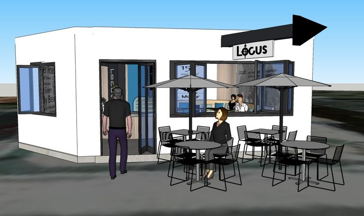 sketchup - exterior view.  Locus Café, Manly project.  Lisa Banducci Design.