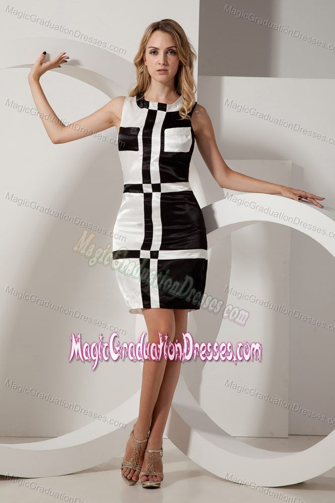 Black and White Square Mini-length University Graduation Dress in Bethel